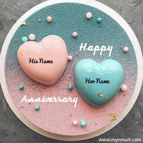 Beautiful Couple Heart Cake For Anniversary With His and Her Name