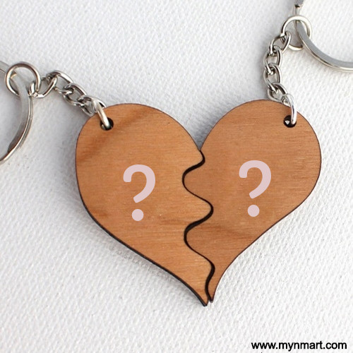 Beautiful Wooden Heart Key chain Alphabet Name Pics