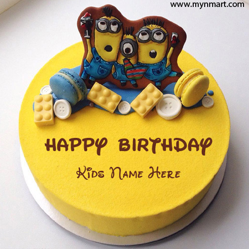 Birthday Cake For Kids With Minion Topper And Write your name on Cake