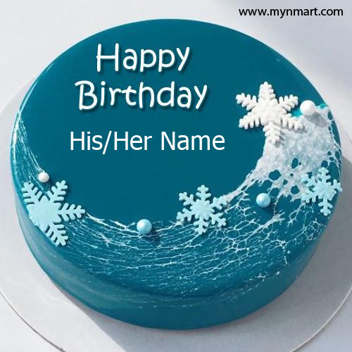 Birthday Cake with Blue color and Snow on cake