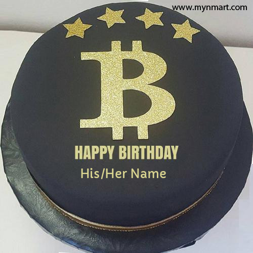 Bitcoin Theme Birthday Party and Wishes Cake