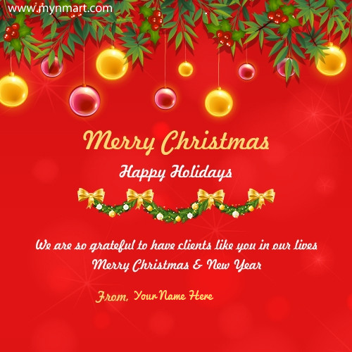 Business Christmas Greeting for client with your name