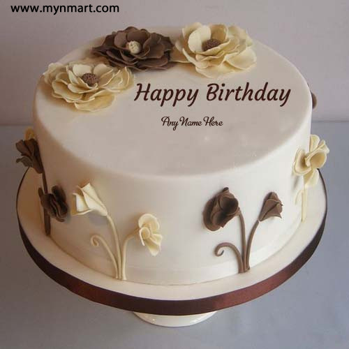 Flower Decorated Happy Birthday Cake Picture With Name
