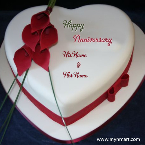 Flower Design Anniversary Wishes Cake