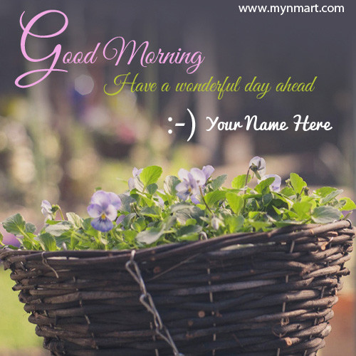 Good Morning Have a Wonderful day ahead greeting with your name