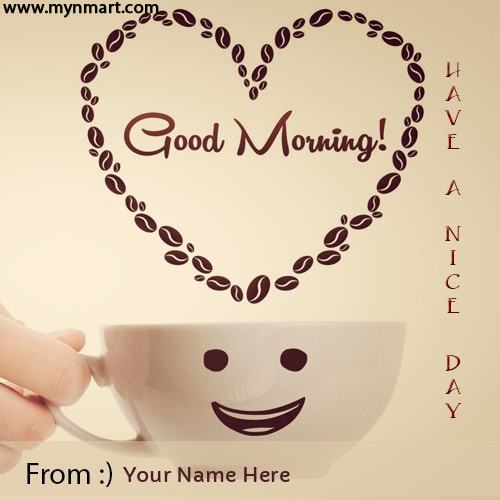 Good Morning Wishes Greeting Card With Smiley Made with Coffee Face And Coffee Cup