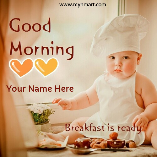 Good Morning With Cute Boy Breakfast ready message