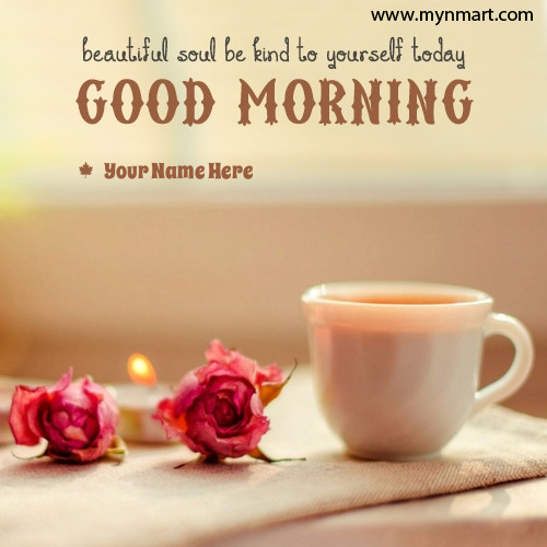 Good Morning with rose and coffee cup