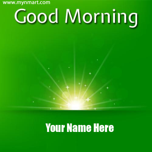 Good Morning with Sun Rise and Name on Greeting Card