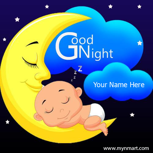 Good Night Sweet Dreams Cute Baby Sleeping on moon