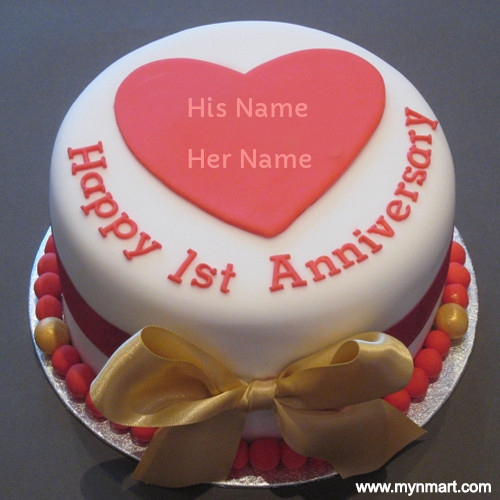Happy 1st Anniversary Wish Cake With Couple Name