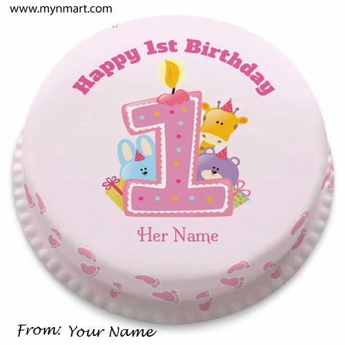 Happy 1st Birthday Cake Greeting with your name