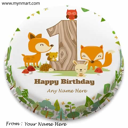 Happy 1st Birthday Greeting with Birthday Kids Name and Your Name