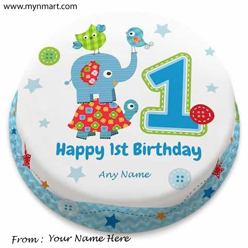 Happy 1st Birthday Greeting with Name on Card