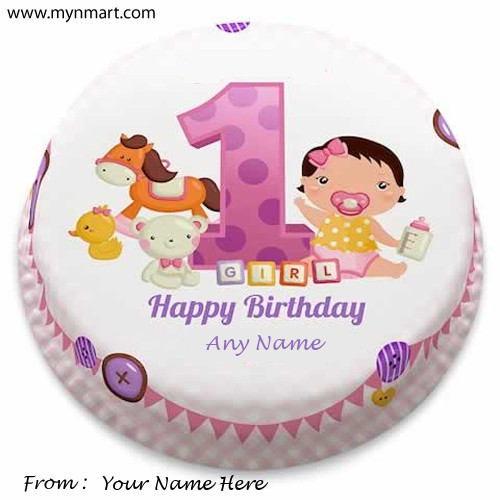 Happy 1st Birthdayy Cake For Girls with Name on It