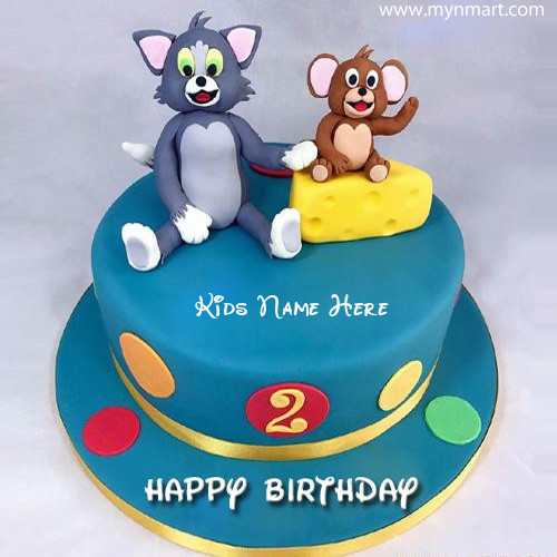 Happy 2nd Birthday Cake for Kids with Tom and Jerry and Write kids name on Cake