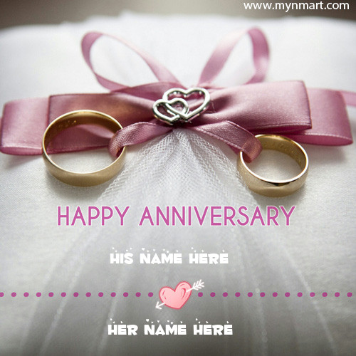 Happy Anniversary Beautiful Greeting With Couple Name and Couple Rings