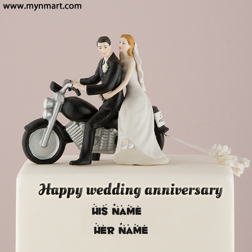 Happy Anniversary Cake With Bike Couple On Cake and Write Name of them