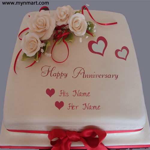Happy Anniversary Cake With Couple Name on Cake