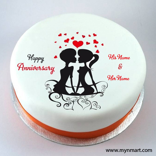 Happy Anniversary Couple Kiss Cake
