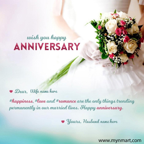 Happy Anniversary Wish card for wife with wife name and husband name on card