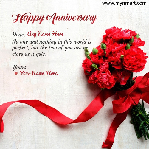 Happy Anniversary Wish With Couple Name on Greeting