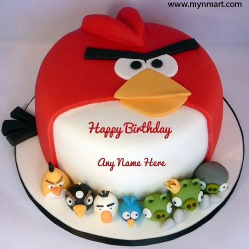 Happy Birthday Cake for Kids with Angry Birds Shape
