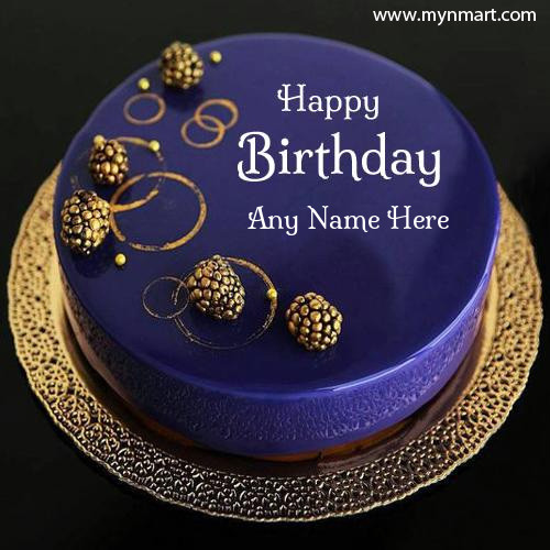 Happy Birthday Cake with Purpple color and unique design to wish birthday