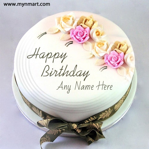 Happy Birthday Cake With Rose on top and write name on it