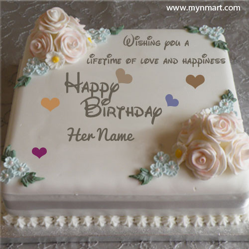 Happy Birthday Cake With White Roses For Girls