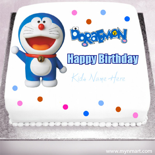 Happy Birthday Doraemon Cartoon Kids Cake With Kids Name