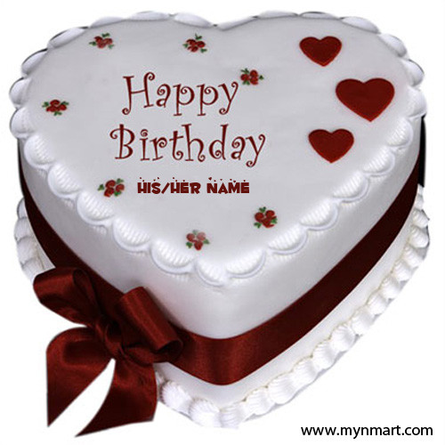 Happy Birthday Heart Shape Cake With Ribbon