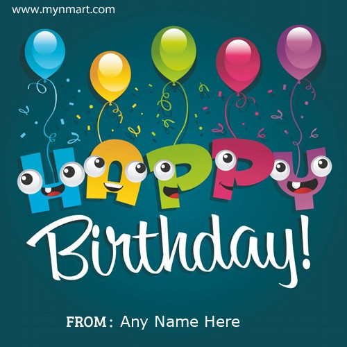 Happy Birthday wish with balloon and write your name on happy birthday greeting