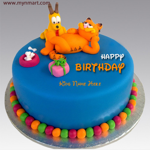 Happy Birthday Wishes Garfield Cake With Kids Name On Cake