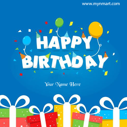 Happy Birthday Wishes With Gift Greeting Card Name