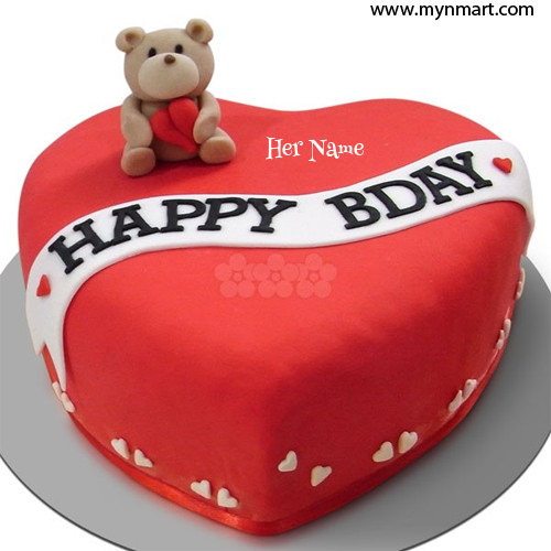 Happy Birthday with Heart cake and teddy