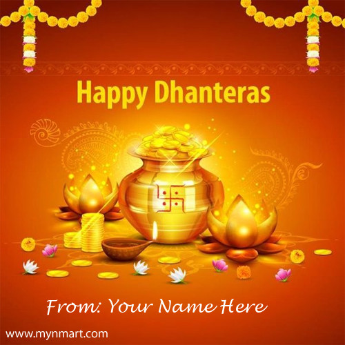 Happy Dhanteras Designer Greeting With Your Name