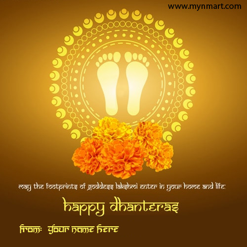 Happy Dhanteras Goddess Lakshmi Foot Print with wish