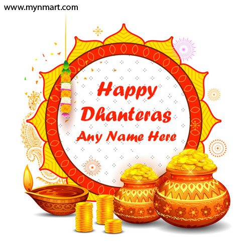 Happy Dhanteras Greeting with Rangoli with Your Name
