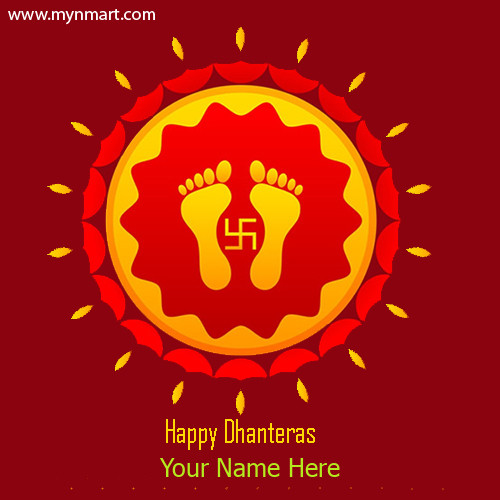 Happy Dhanteras Laxmi Charan Paduka With Your Name Greeting