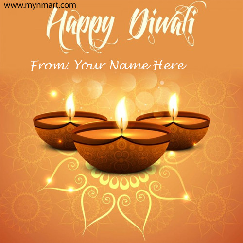 Happy Diwali Greeting With Designer Diya and Rangoli with Your name