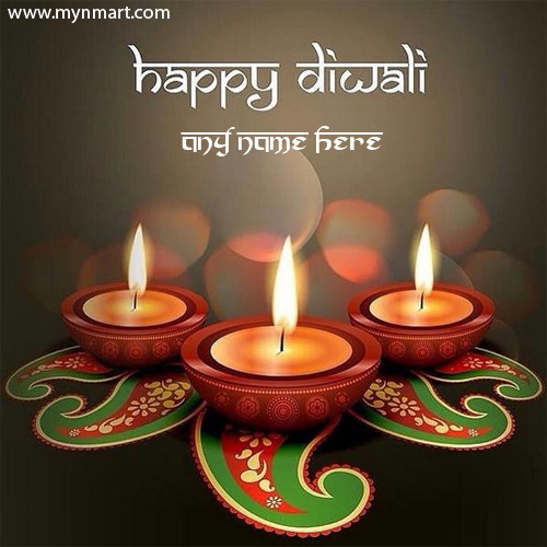 Happy Diwali Greeting With Designer Greeting and Rangoli
