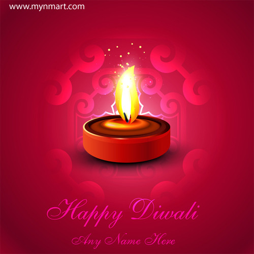 Happy Diwali Greeting with Diya and Rangoli with your name