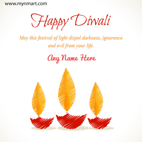 Happy Diwali With Greeting Message and Dia with your name on card