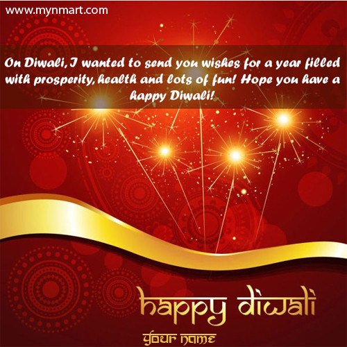 Happy Diwali With Greeting Message on Card