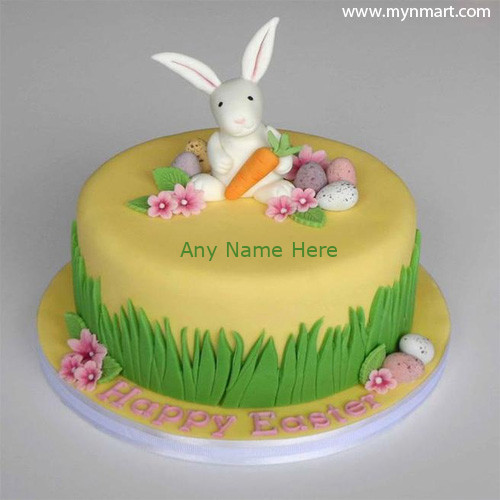 Happy Easter Day 2018 Celebration Cake With Bunny