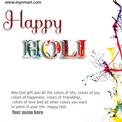 Happy Holi greeting with quotes written on card