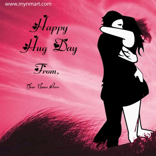 Happy Hug Day 2019 Greeting with your name