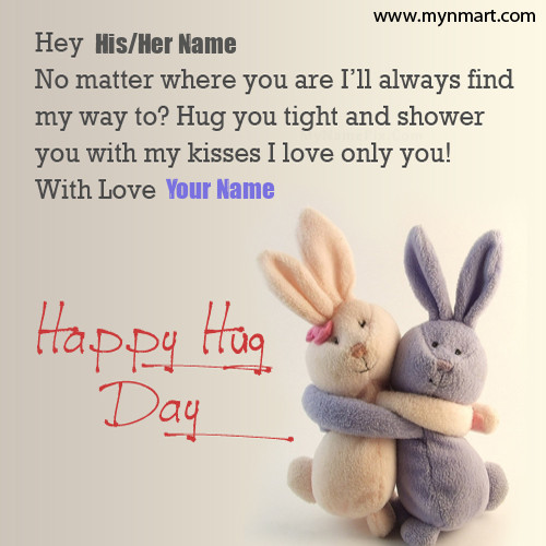 Happy Hug Day Bunnies With Name