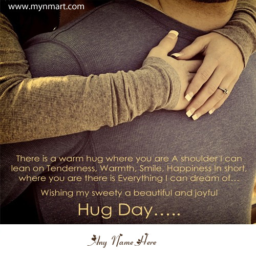 Happy Hug Day Greeting with Quotes and Your Name